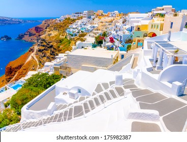 Beautiful steps in Oia the most beautiful village of Santorini island in Greece
