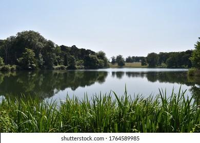 Beautiful still lake on a summer's day - Holkham Lake, Norfolk, UK