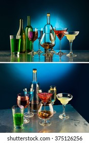Beautiful still life from bottles and glasses on the dark background