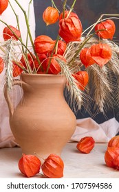 beautiful still life in a clay jug from ears of wheat and cape gooseberry