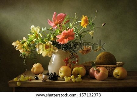 Beautiful Still Life With Flowers And Fruit