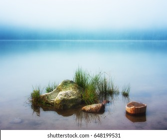 Beautiful still life with rocks on a pond