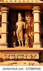 Beautiful stone carving of Lord Vishnu at Khajuraho Temple, Madhya Pradesh