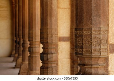 Beautiful stone columns in an abandoned Amber Fort. Rajasthan, India