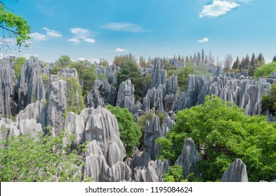 A beautiful stone forest scenic national park on sunny day, kunming city ,yunnan province, China.