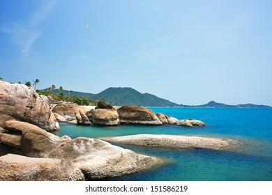 Beautiful stones on Lamai beach, Koh Samui, Thailand