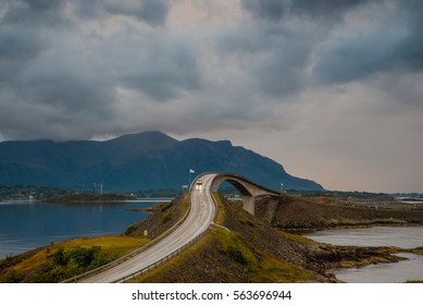 The beautiful Storseisundet Bridge along the stunning Atlantic Ocean Road in Norway
