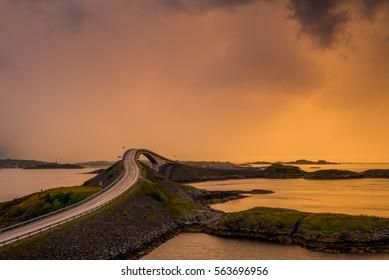 The beautiful Storseisundet Bridge along the stunning Atlantic Ocean Road in Norway