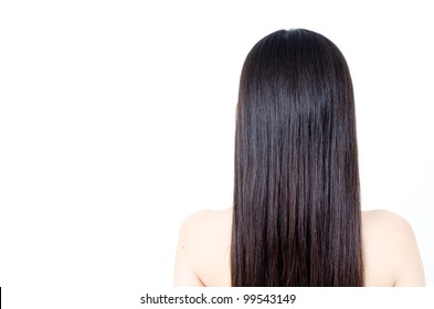 beautiful straight hair isolated on white background