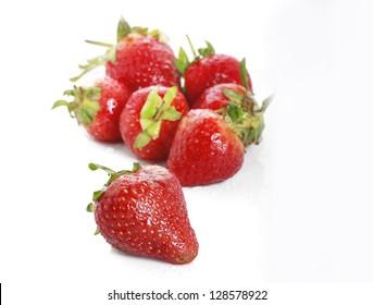 Beautiful strawberries isolated on white background