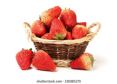Beautiful strawberries on white background