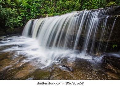Beautiful streams flow along the rocks.