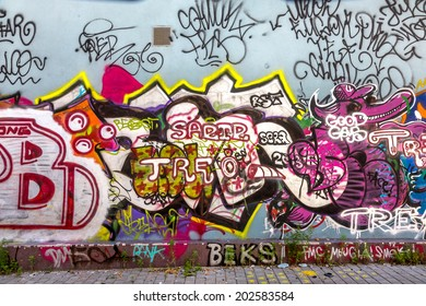 Beautiful Street Art Graffiti Abstract Creative Drawing Fashion Colors On The Walls Of The City