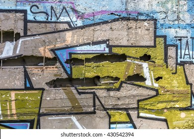 Beautiful street art of graffiti. Abstract color creative drawing fashion on walls city. Urban contemporary culture. Title paint on walls. Culture youth protest. ABSTRACT PICTURE