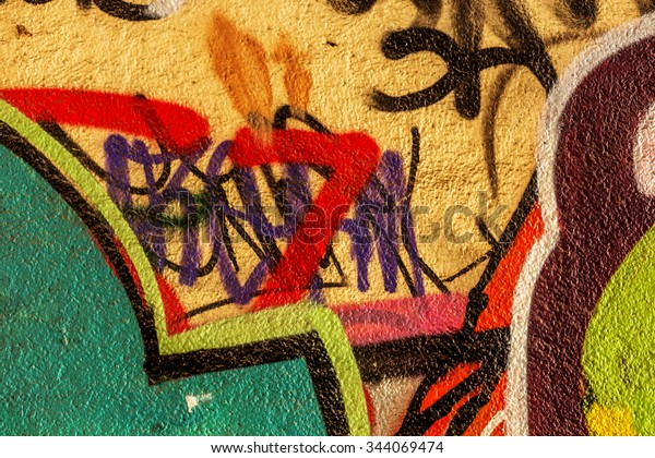 Beautiful Street Art Graffiti Abstract Color Stock Photo