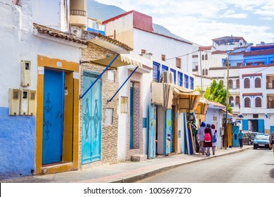 Beautiful street of blue city Chefchaouen,  Morocco, Africa.