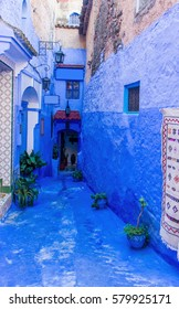 Beautiful street in the blue medina of Chefchaouen, Morocco.
