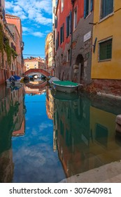 Beautiful street and canal in Venice, Italy.
