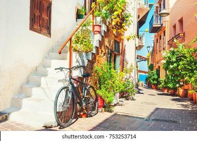 Beautiful street in Chania, Crete island, Greece. Summer landscape