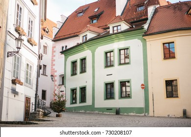 Beautiful street in the Christmas holidays in the city of Cesky Krumlov in the Czech Republic. One of the most beautiful unusual cities in the world.