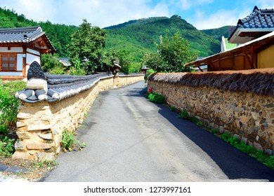 Beautiful street with earthen wall and stone wall inside Daegu Otgol Village with nature background at spring or summer season.This place is one of the famous tourist destination in Daegu, South Korea