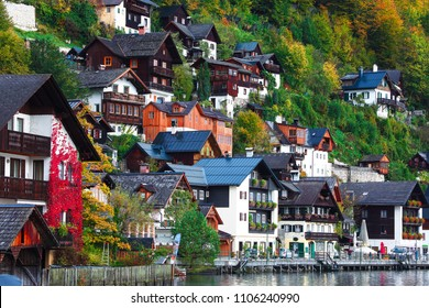 Beautiful street in Hallstatt village in Austrian Alps. Autumn landscape. Location: resort village Hallstatt, Salzkammergut region, Austria, Alps. Europe.