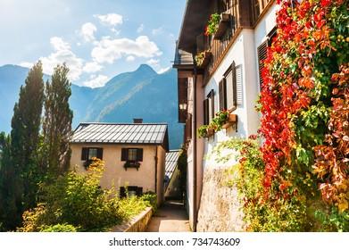 Beautiful street in Hallstatt village in Austrian Alps. Autumn landscape