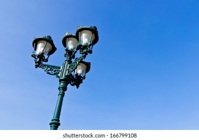 Beautiful street lamp at Bang-pa-in palace and blue sky, Ayutthaya Thailand