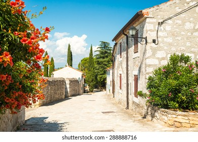 Beautiful Street of Medieval Town Vrsar in Istria, Croatia. Popular Tourist Resort at Adriatic Sea. Mediterranean Travel Concept.