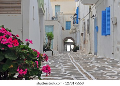 Beautiful street in mediterranean style, Paros island, Greece
