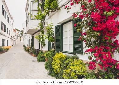 Beautiful street, Menorca island, Spain