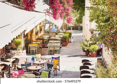 Beautiful street in the old district of Plaka in Athens, Greece