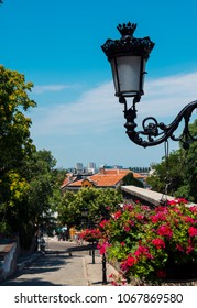 beautiful street of old Europe with lampposts, purple petunia flowers, stone road, old buildings and green trees on the blue sky background