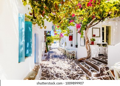 Beautiful street on Paros Island, Greece