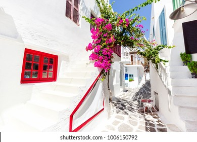 Beautiful street in Paros, Greece