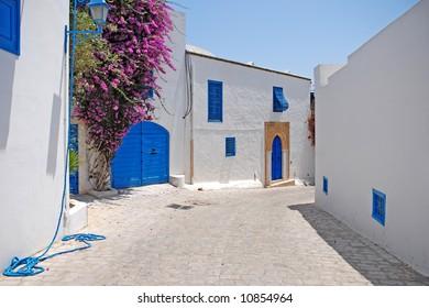 Beautiful street of Sidi Bou Said, Tunisia