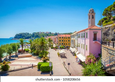 Beautiful street and traditional buildings of  Savona, Liguria, Italy