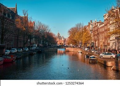 Beautiful streets of Amsterdam in autumn
