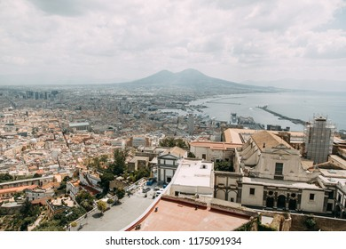 Beautiful streets and courtyards of Naples, historical sites and sculptures of the city. The monuments and architecture of ancient Italy. panorama of the city, species and tourist places.