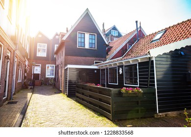 Beautiful streets in fishing village volendam in the netherlands