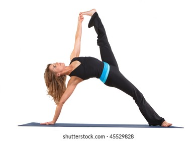Beautiful stretching in a yoga pose on a white background.