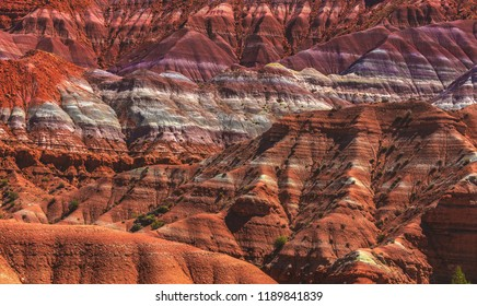Beautiful striations of color in the layers of sandstone in the area of Paria, an abandoned pioneer town near the Grand Staircase-Escalante National Monument in Kane County of southern Utah.