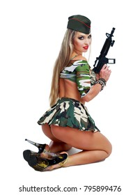 beautiful  striptease dancer, dressed as a soldier, isolated against white background