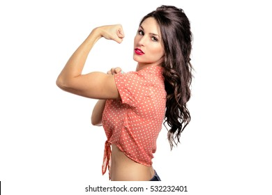 Beautiful strong powerful intense working class blue collar woman labor industry white background