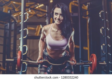 daaed1273cba5 Beautiful strong sexy athletic young caucasian fitness girl with long hair workout  training in the gym