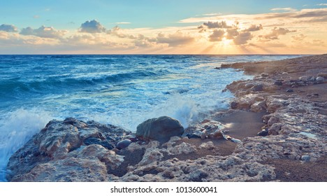 beautiful strong waves in the Mediterranean Sea are poured in different colors tones