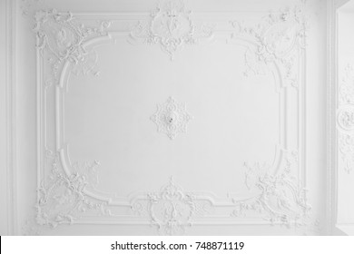 beautiful stucco ceiling in old building after renovation