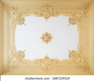 beautiful stucco ceiling , ornate plastering decoration in apartment -