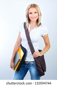 Beautiful student girl isolated on white background, smart pretty teenager female holding textbooks, back to school, cute schoolgirl with laptop bag, knowledge and education concept