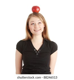 Beautiful student woman have apple on her head - learning concept